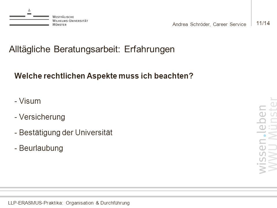LLP-ERASMUS-Praktika: Organisation & Durchführung Andrea Schröder, Career Service 11/14 Alltägliche Beratungsarbeit: Erfahrungen Welche rechtlichen Aspekte muss ich beachten.
