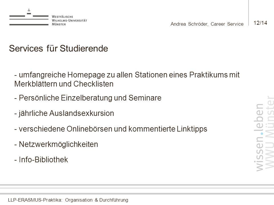 LLP-ERASMUS-Praktika: Organisation & Durchführung Andrea Schröder, Career Service 12/14 Services für Studierende - umfangreiche Homepage zu allen Stat