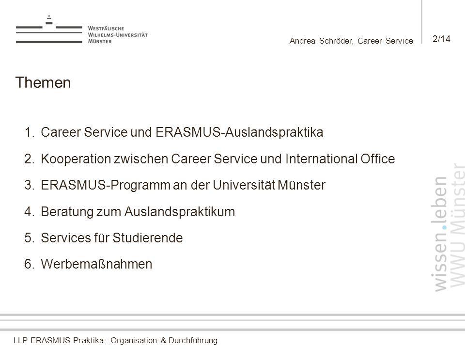 Andrea Schröder, Career Service 2/14 Themen 1.Career Service und ERASMUS-Auslandspraktika 2.Kooperation zwischen Career Service und International Offi