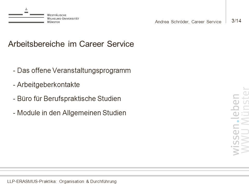 LLP-ERASMUS-Praktika: Organisation & Durchführung Andrea Schröder, Career Service 3/14 Arbeitsbereiche im Career Service - Das offene Veranstaltungspr