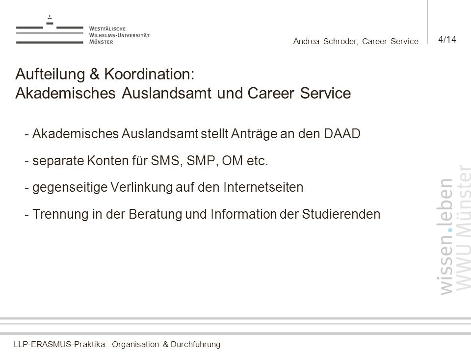LLP-ERASMUS-Praktika: Organisation & Durchführung Andrea Schröder, Career Service 4/14 Aufteilung & Koordination: Akademisches Auslandsamt und Career Service - Akademisches Auslandsamt stellt Anträge an den DAAD - separate Konten für SMS, SMP, OM etc.