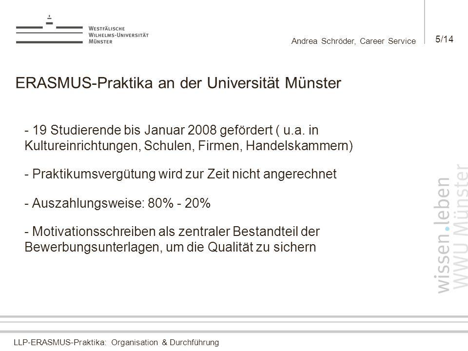 LLP-ERASMUS-Praktika: Organisation & Durchführung Andrea Schröder, Career Service 5/14 ERASMUS-Praktika an der Universität Münster - 19 Studierende bi