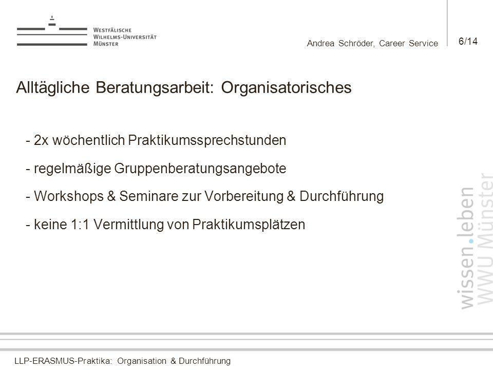LLP-ERASMUS-Praktika: Organisation & Durchführung Andrea Schröder, Career Service 6/14 Alltägliche Beratungsarbeit: Organisatorisches - 2x wöchentlich Praktikumssprechstunden - regelmäßige Gruppenberatungsangebote - Workshops & Seminare zur Vorbereitung & Durchführung - keine 1:1 Vermittlung von Praktikumsplätzen