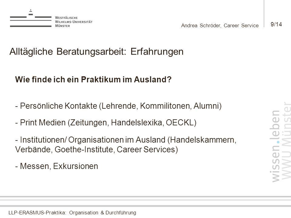 LLP-ERASMUS-Praktika: Organisation & Durchführung Andrea Schröder, Career Service 9/14 Alltägliche Beratungsarbeit: Erfahrungen Wie finde ich ein Praktikum im Ausland.