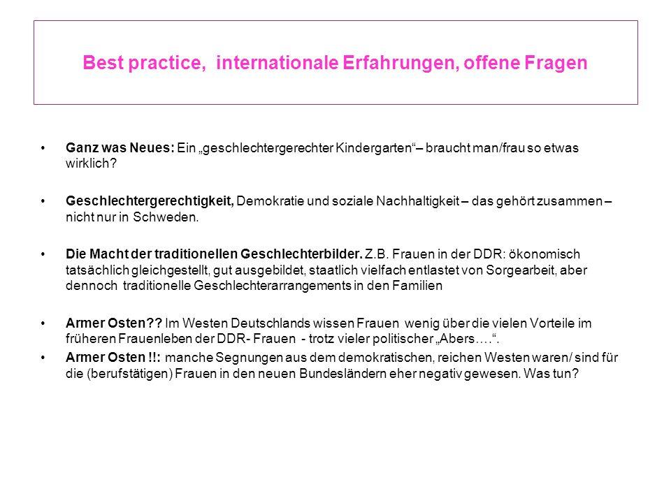 Best practice, internationale Erfahrungen, offene Fragen Ganz was Neues: Ein geschlechtergerechter Kindergarten– braucht man/frau so etwas wirklich? G