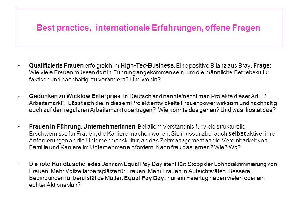 Best practice, internationale Erfahrungen, offene Fragen Qualifizierte Frauen erfolgreich im High-Tec-Business. Eine positive Bilanz aus Bray. Frage: