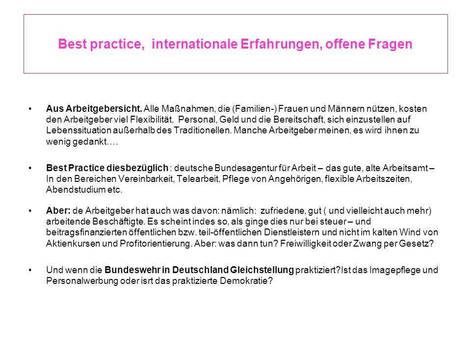 Best practice, internationale Erfahrungen, offene Fragen Aus Arbeitgebersicht. Alle Maßnahmen, die (Familien-) Frauen und Männern nützen, kosten den A