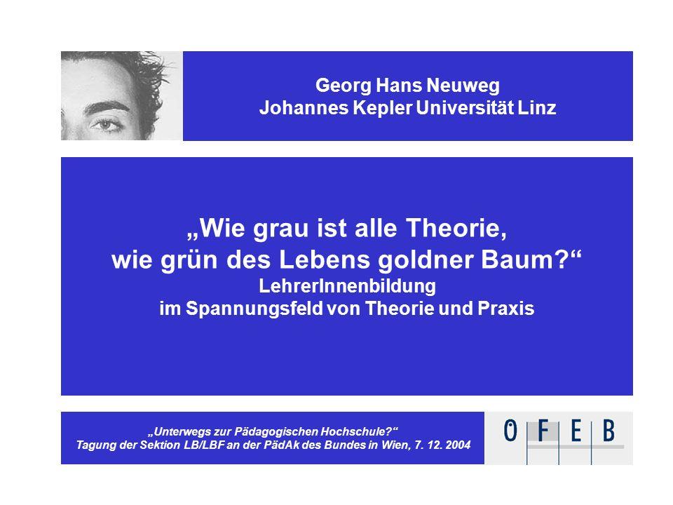 Georg Hans Neuweg Johannes Kepler Universität Linz Lehrerwissen und Lehrerkönnen Verhältnisbestimmungen und ihre didaktischen Implikationen Pädagogisc