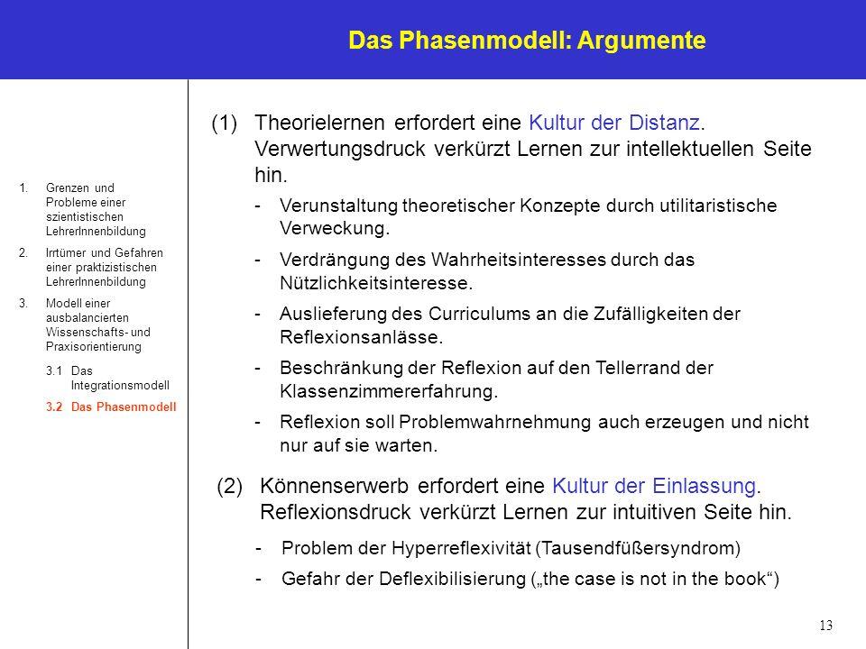 13 Das Phasenmodell: Argumente 1.Grenzen und Probleme einer szientistischen LehrerInnenbildung 2.Irrtümer und Gefahren einer praktizistischen LehrerIn