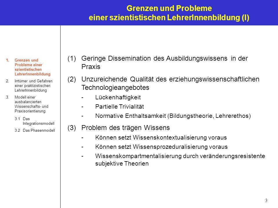 3 Grenzen und Probleme einer szientistischen LehrerInnenbildung (I) 1.Grenzen und Probleme einer szientistischen LehrerInnenbildung 2.Irrtümer und Gef