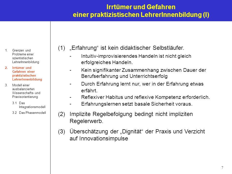 7 Irrtümer und Gefahren einer praktizistischen LehrerInnenbildung (I) 1.Grenzen und Probleme einer szientistischen LehrerInnenbildung 2.Irrtümer und G
