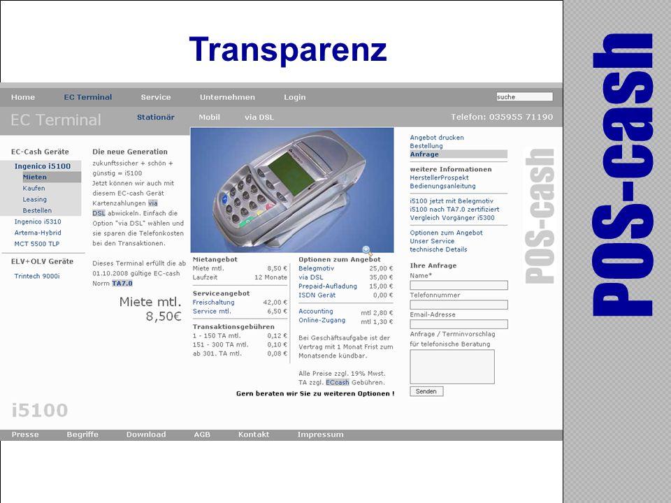 POS-cash Transparenz