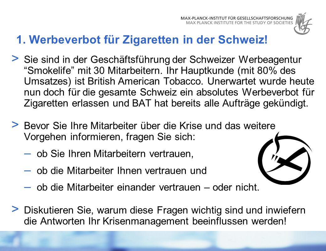 Dr.Guido Möllering | Zürich | 3. Mai 2007 | 3 1. Werbeverbot für Zigaretten in der Schweiz.