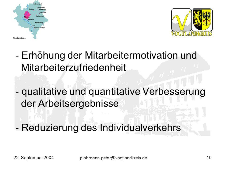 plohmann.peter@vogtlandkreis.de 22. September 200410 - Erhöhung der Mitarbeitermotivation und Mitarbeiterzufriedenheit - qualitative und quantitative