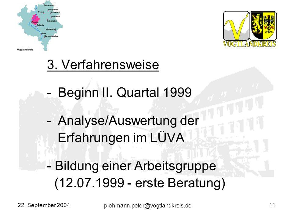 plohmann.peter@vogtlandkreis.de 22. September 200411 3. Verfahrensweise -Beginn II. Quartal 1999 -Analyse/Auswertung der Erfahrungen im LÜVA - Bildung