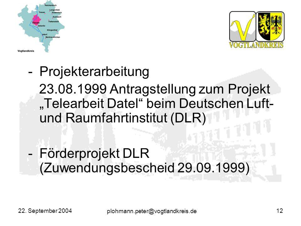 plohmann.peter@vogtlandkreis.de 22. September 200412 -Projekterarbeitung 23.08.1999 Antragstellung zum Projekt Telearbeit Datel beim Deutschen Luft- u