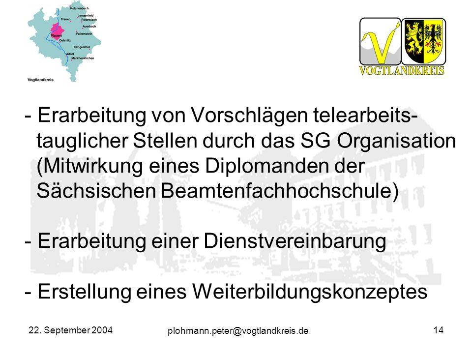 plohmann.peter@vogtlandkreis.de 22. September 200414 - Erarbeitung von Vorschlägen telearbeits- tauglicher Stellen durch das SG Organisation (Mitwirku