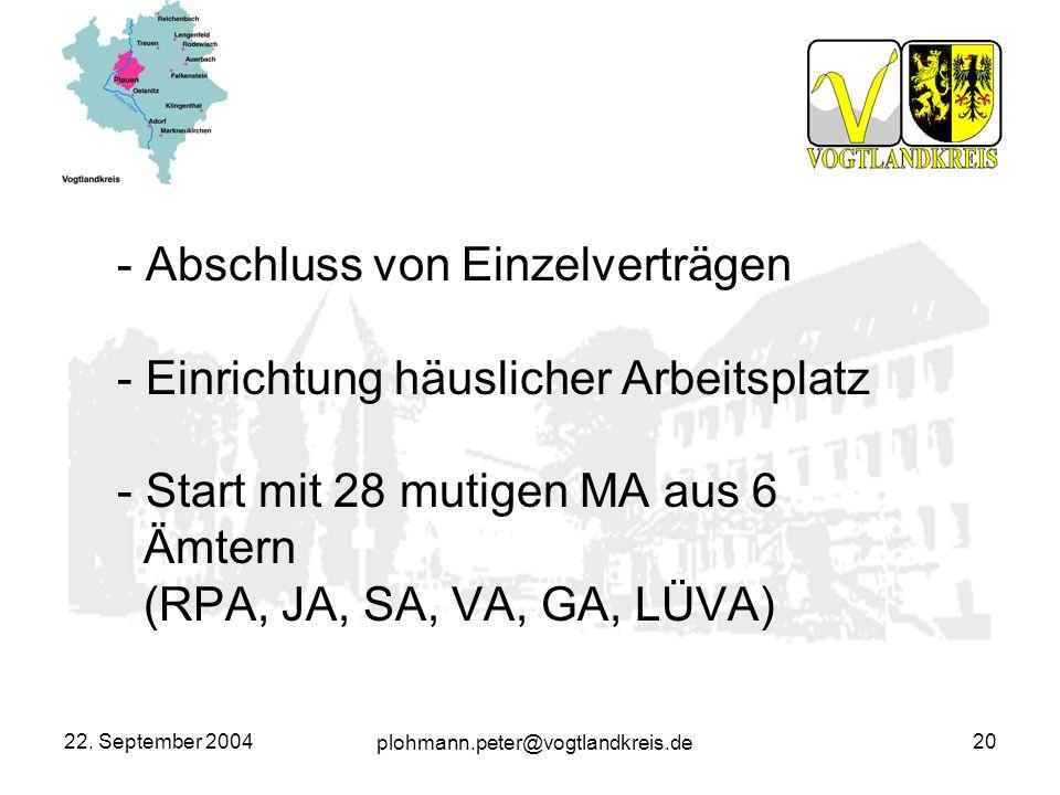 plohmann.peter@vogtlandkreis.de 22. September 200420 - Abschluss von Einzelverträgen - Einrichtung häuslicher Arbeitsplatz - Start mit 28 mutigen MA a