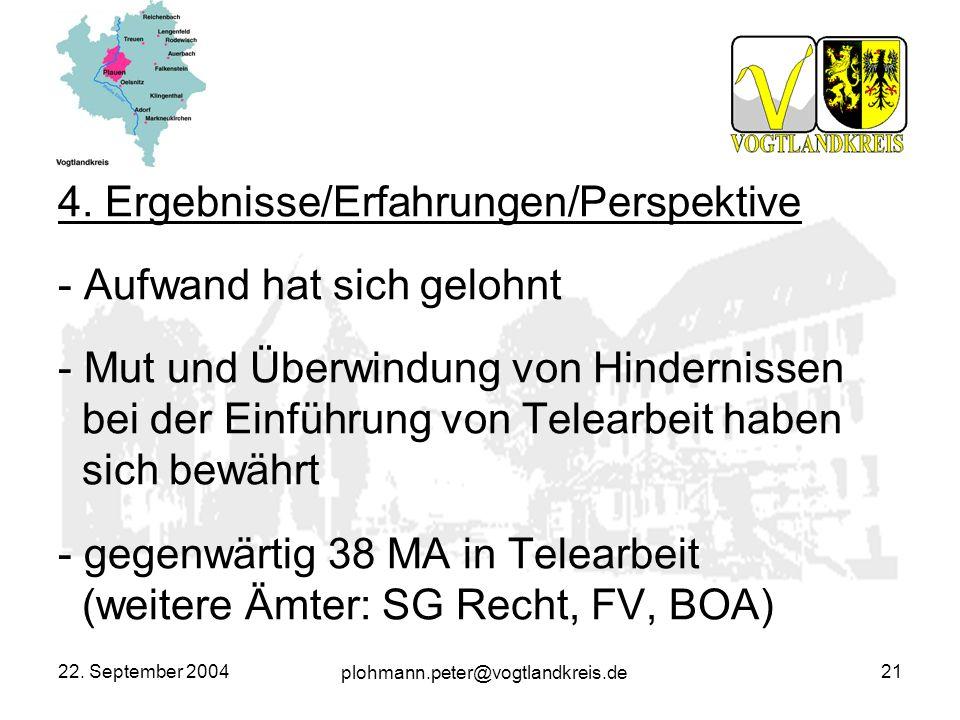plohmann.peter@vogtlandkreis.de 22. September 200421 4. Ergebnisse/Erfahrungen/Perspektive - Aufwand hat sich gelohnt - Mut und Überwindung von Hinder
