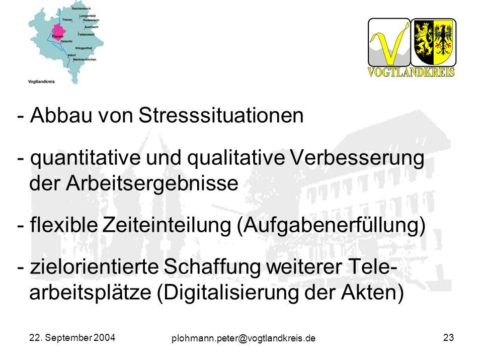 plohmann.peter@vogtlandkreis.de 22. September 200423 - Abbau von Stresssituationen - quantitative und qualitative Verbesserung der Arbeitsergebnisse -