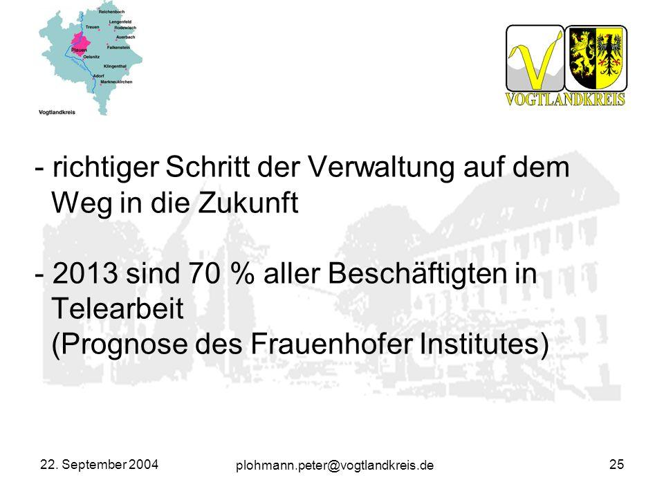 plohmann.peter@vogtlandkreis.de 22. September 200425 - richtiger Schritt der Verwaltung auf dem Weg in die Zukunft - 2013 sind 70 % aller Beschäftigte