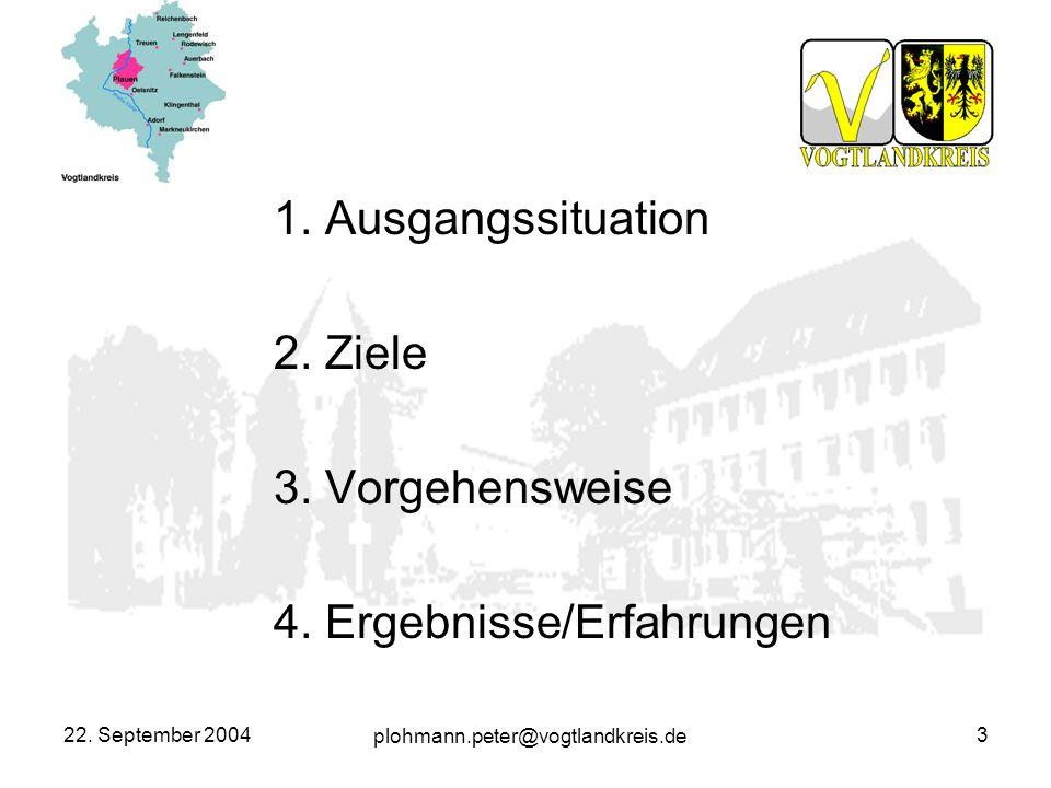 plohmann.peter@vogtlandkreis.de 22. September 20043 1. Ausgangssituation 2. Ziele 3. Vorgehensweise 4. Ergebnisse/Erfahrungen