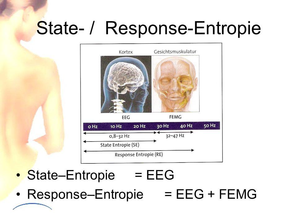 State- / Response-Entropie State–Entropie = EEG Response–Entropie= EEG + FEMG