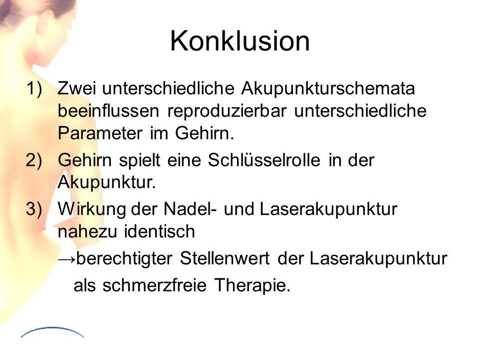 Konklusion 1)Zwei unterschiedliche Akupunkturschemata beeinflussen reproduzierbar unterschiedliche Parameter im Gehirn. 2)Gehirn spielt eine Schlüssel