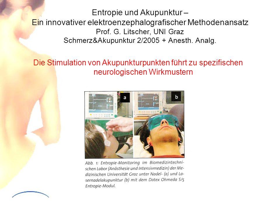 Entropie und Akupunktur – Ein innovativer elektroenzephalografischer Methodenansatz Prof. G. Litscher, UNI Graz Schmerz&Akupunktur 2/2005 + Anesth. An