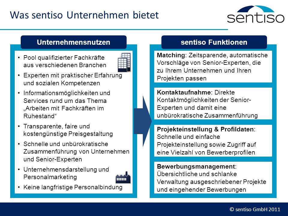© sentiso GmbH 2011 Was sentiso Unternehmen bietet Pool qualifizierter Fachkräfte aus verschiedenen Branchen Experten mit praktischer Erfahrung und so