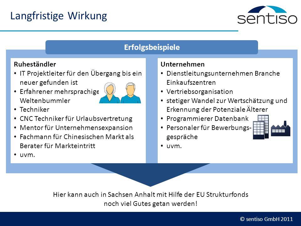 © sentiso GmbH 2011 Langfristige Wirkung Ruheständler IT Projektleiter für den Übergang bis ein neuer gefunden ist Erfahrener mehrsprachiger Weltenbum