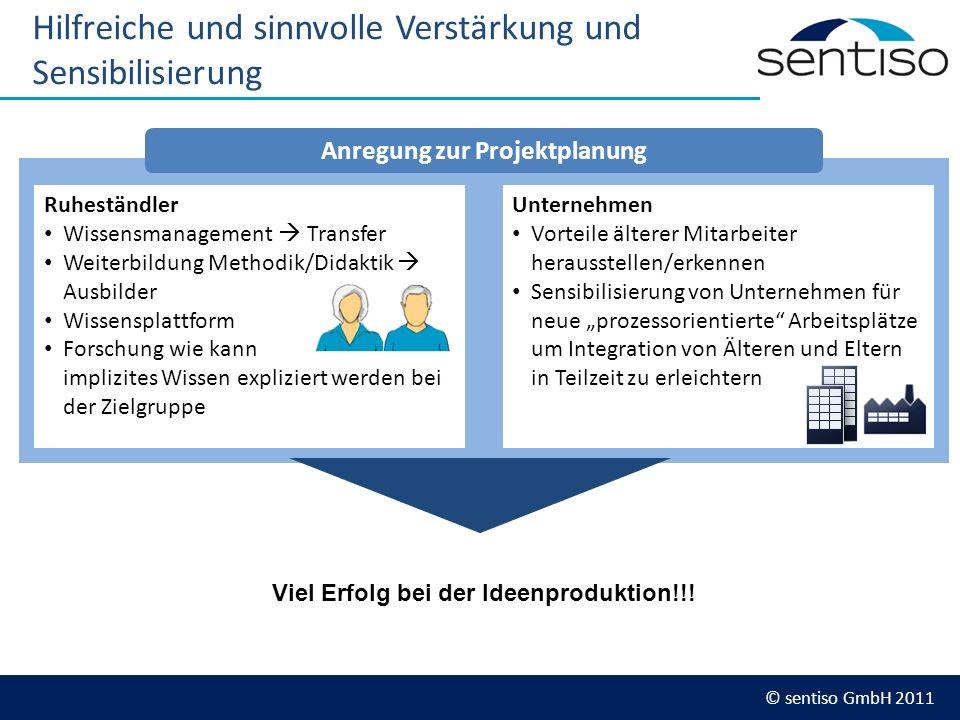 © sentiso GmbH 2011 Hilfreiche und sinnvolle Verstärkung und Sensibilisierung Ruheständler Wissensmanagement Transfer Weiterbildung Methodik/Didaktik