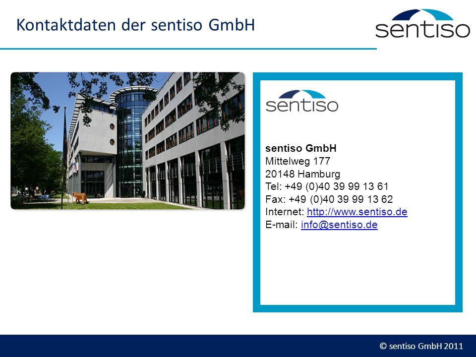 © sentiso GmbH 2011 Kontaktdaten der sentiso GmbH sentiso GmbH Mittelweg 177 20148 Hamburg Tel: +49 (0)40 39 99 13 61 Fax: +49 (0)40 39 99 13 62 Inter