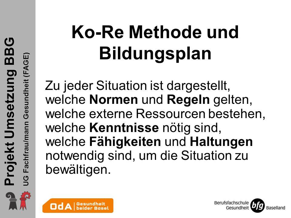Projekt Umsetzung BBG UG Fachfrau/mann Gesundheit (FAGE) Ko-Re Methode und Bildungsplan Zu jeder Situation ist dargestellt, welche Normen und Regeln g