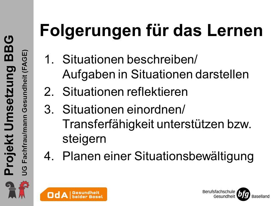 Projekt Umsetzung BBG UG Fachfrau/mann Gesundheit (FAGE) Folgerungen für das Lernen 1.Situationen beschreiben/ Aufgaben in Situationen darstellen 2.Situationen reflektieren 3.Situationen einordnen/ Transferfähigkeit unterstützen bzw.