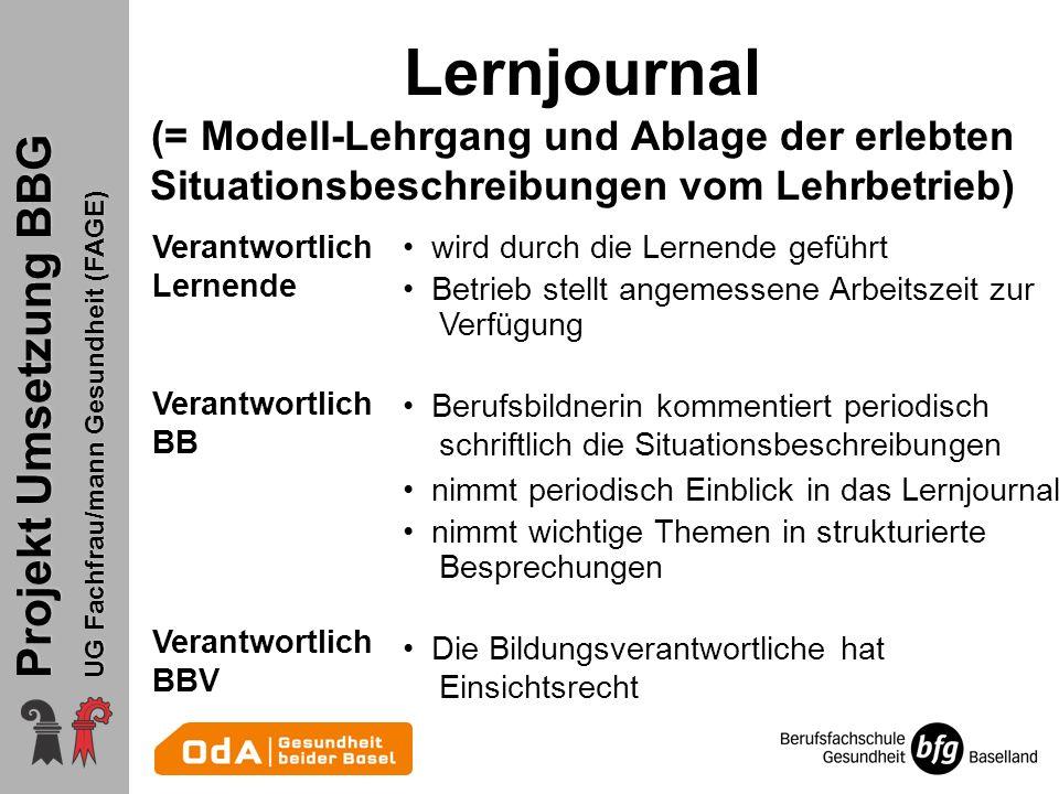 Projekt Umsetzung BBG UG Fachfrau/mann Gesundheit (FAGE) Lernjournal (= Modell-Lehrgang und Ablage der erlebten Situationsbeschreibungen vom Lehrbetri