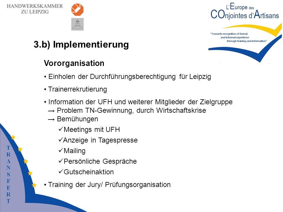 3.b) Implementierung Vororganisation Einholen der Durchführungsberechtigung für Leipzig Trainerrekrutierung Information der UFH und weiterer Mitgliede