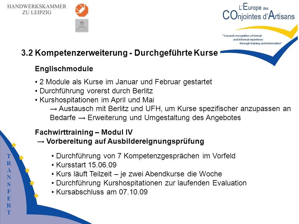 3.2 Kompetenzerweiterung - Durchgeführte Kurse Englischmodule 2 Module als Kurse im Januar und Februar gestartet Durchführung vorerst durch Berlitz Ku