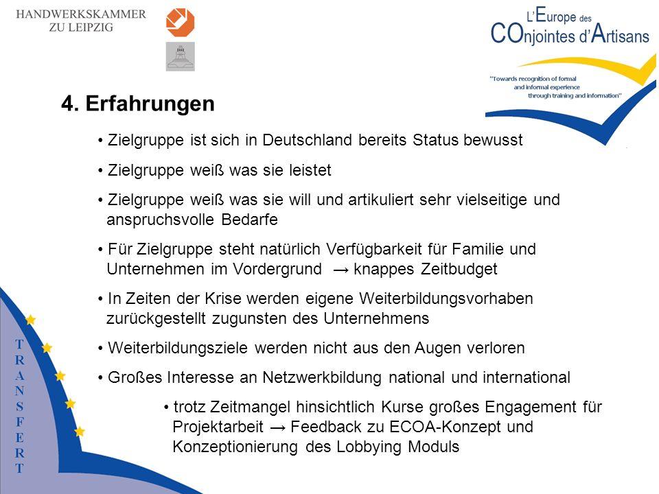 4. Erfahrungen Zielgruppe ist sich in Deutschland bereits Status bewusst Zielgruppe weiß was sie leistet Zielgruppe weiß was sie will und artikuliert