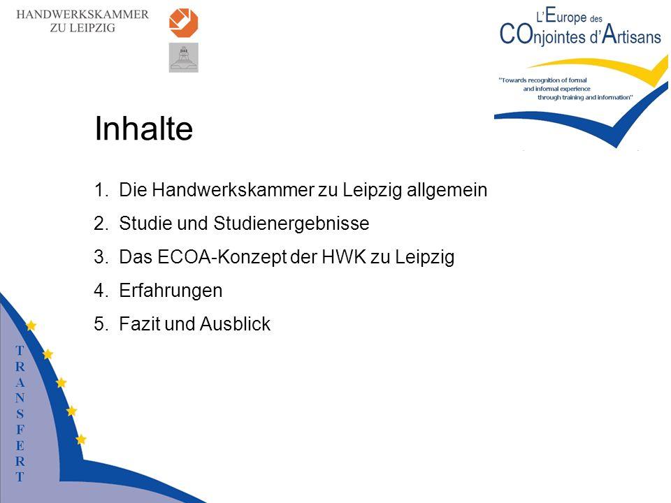 Inhalte 1.Die Handwerkskammer zu Leipzig allgemein 2.Studie und Studienergebnisse 3.Das ECOA-Konzept der HWK zu Leipzig 4.Erfahrungen 5.Fazit und Ausb