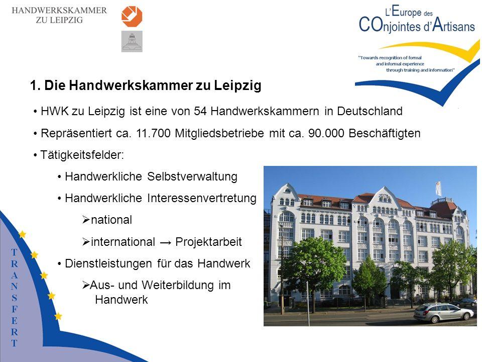 HWK zu Leipzig ist eine von 54 Handwerkskammern in Deutschland Repräsentiert ca. 11.700 Mitgliedsbetriebe mit ca. 90.000 Beschäftigten Tätigkeitsfelde