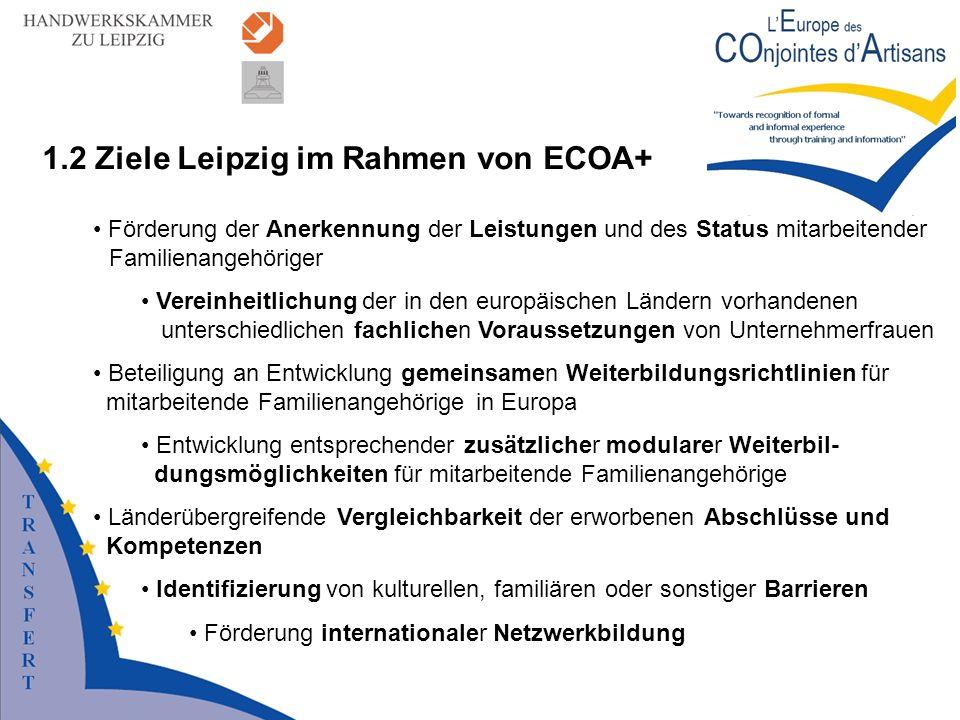 1.2 Ziele Leipzig im Rahmen von ECOA+ Förderung der Anerkennung der Leistungen und des Status mitarbeitender Familienangehöriger Vereinheitlichung der
