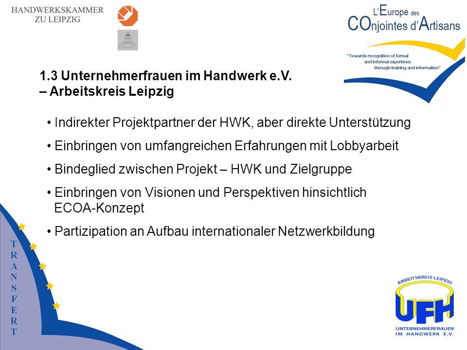 Indirekter Projektpartner der HWK, aber direkte Unterstützung Einbringen von umfangreichen Erfahrungen mit Lobbyarbeit Bindeglied zwischen Projekt – H
