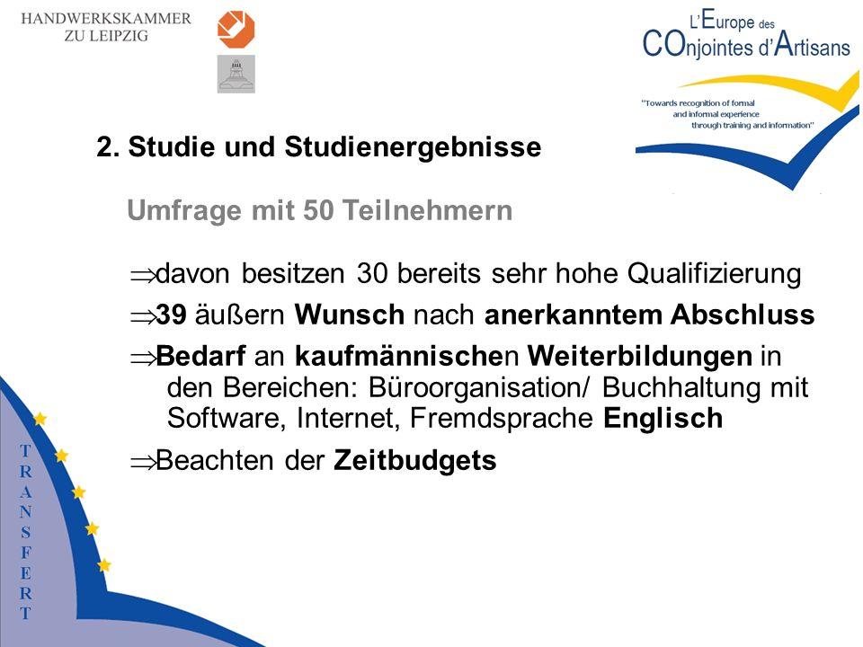 2. Studie und Studienergebnisse Umfrage mit 50 Teilnehmern davon besitzen 30 bereits sehr hohe Qualifizierung 39 äußern Wunsch nach anerkanntem Abschl