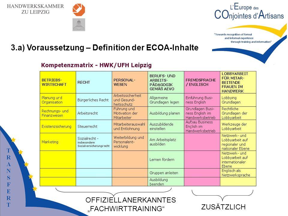 3.a) Voraussetzung – Definition der ECOA-Inhalte OFFIZIELL ANERKANNTES FACHWIRTTRAINING ZUSÄTZLICH