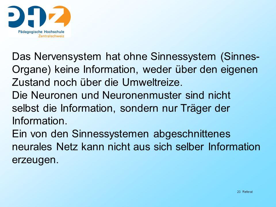20 Referat Das Nervensystem hat ohne Sinnessystem (Sinnes- Organe) keine Information, weder über den eigenen Zustand noch über die Umweltreize. Die Ne
