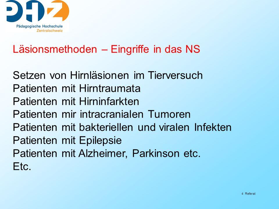4 Referat Läsionsmethoden – Eingriffe in das NS Setzen von Hirnläsionen im Tierversuch Patienten mit Hirntraumata Patienten mit Hirninfarkten Patiente