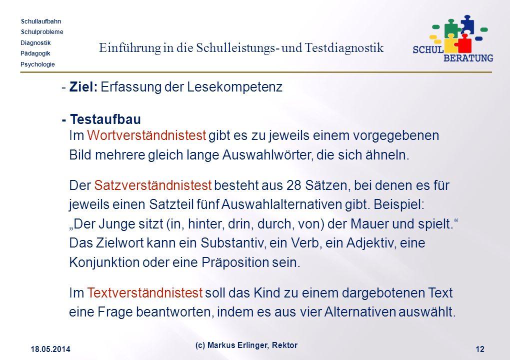 Einführung in die Schulleistungs- und Testdiagnostik Schullaufbahn Schulprobleme Diagnostik Pädagogik Psychologie 18.05.201412 (c) Markus Erlinger, Re