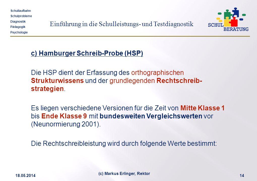 Einführung in die Schulleistungs- und Testdiagnostik Schullaufbahn Schulprobleme Diagnostik Pädagogik Psychologie 18.05.201414 (c) Markus Erlinger, Re