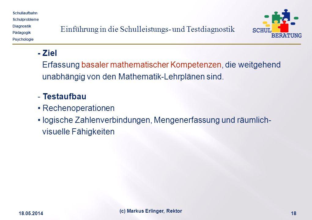 Einführung in die Schulleistungs- und Testdiagnostik Schullaufbahn Schulprobleme Diagnostik Pädagogik Psychologie 18.05.201418 (c) Markus Erlinger, Re